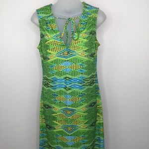 BCBGMAXAZRIA Green Geo Print Sheath Dress Size Sm